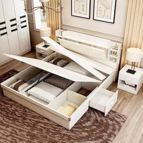 Popular design Multifunctional lift up adjustable solid wood storage bed