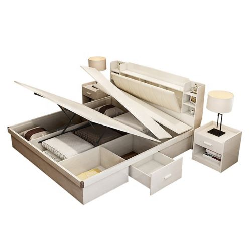 Popular design Multifunctional lift up adjustable solid wood storage bed