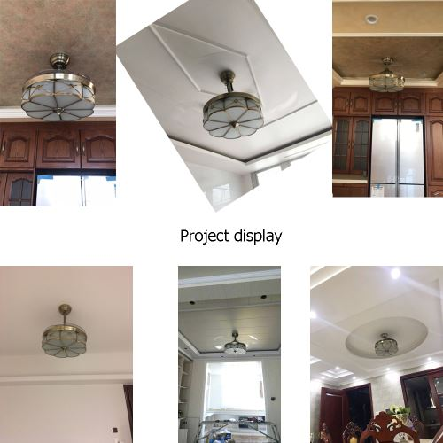 Antique folding domestic modern series conceal room ceiling fan with LED lights and remote control