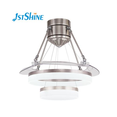 Decorative retractable hidden blade ceiling fan with LED chandelier light