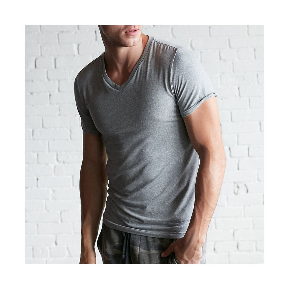 Blank V neck Short Sleeve Cotton T shirt for Men Custom Design Clothing Manufacturer