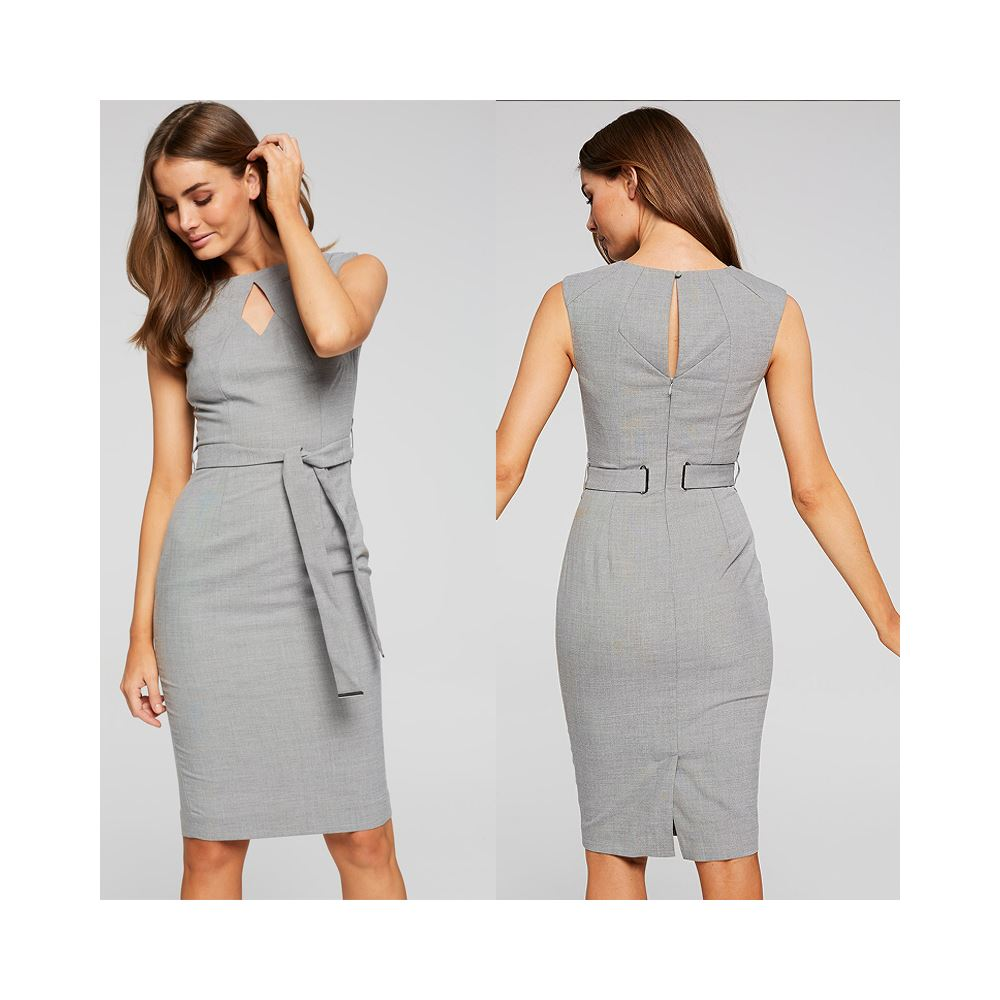 Grey fabric women clothes sexy round neck sleeveless office career pencil dress with waist belt slim