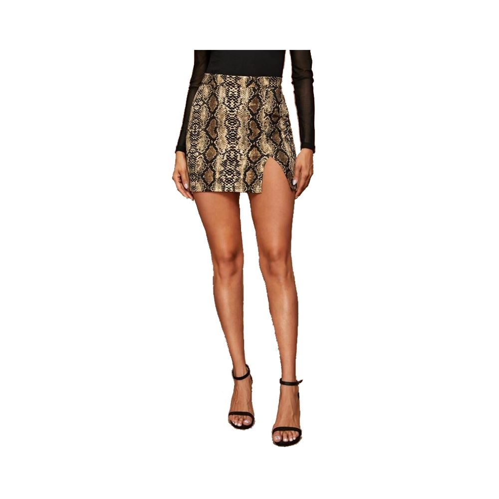 Split Snakeskin Mini Skirt For Women