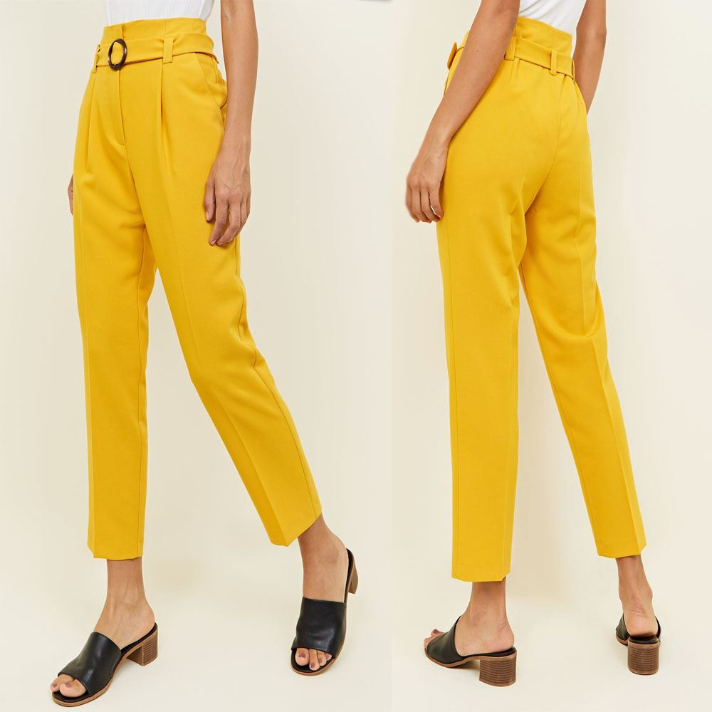 Women high waist belt buckle pencil trousers pants in yellow color