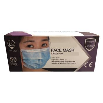 EN 14683:2019 3-ply Earloop Surgical Face Mask 50 pcs